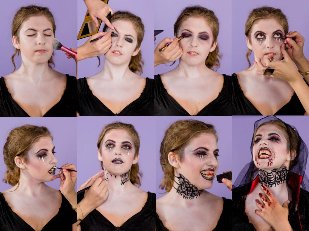 грим вампира на хэллоуин