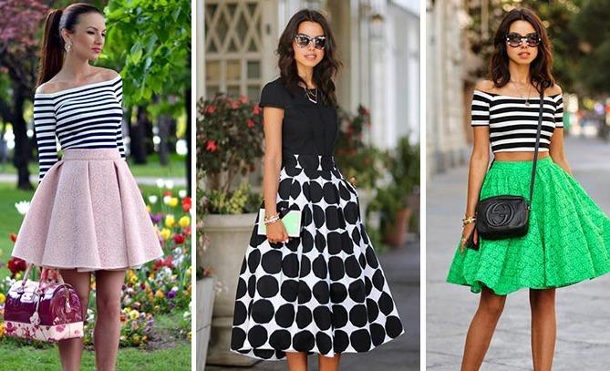 С чем носить юбку-солнце - 200 фото, как выбрать   Шкатулка красоты