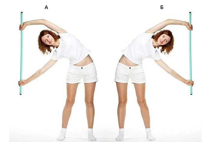 упражнение с палкой для спины