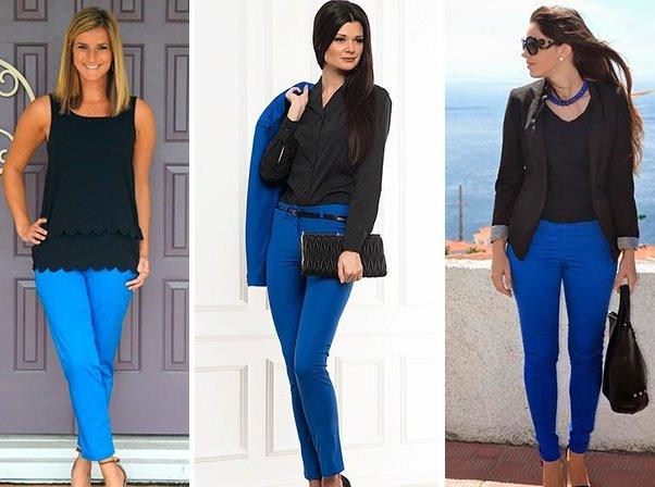 С чем носить синие брюки женские - 160 фото!!!   Шкатулка красоты