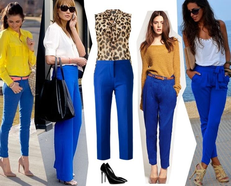 С чем носить синие брюки женские, фото