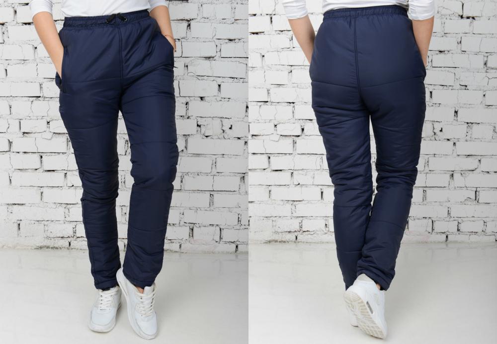 Женские Болоневые штаны 500А1 Однотонные Темно-Синии