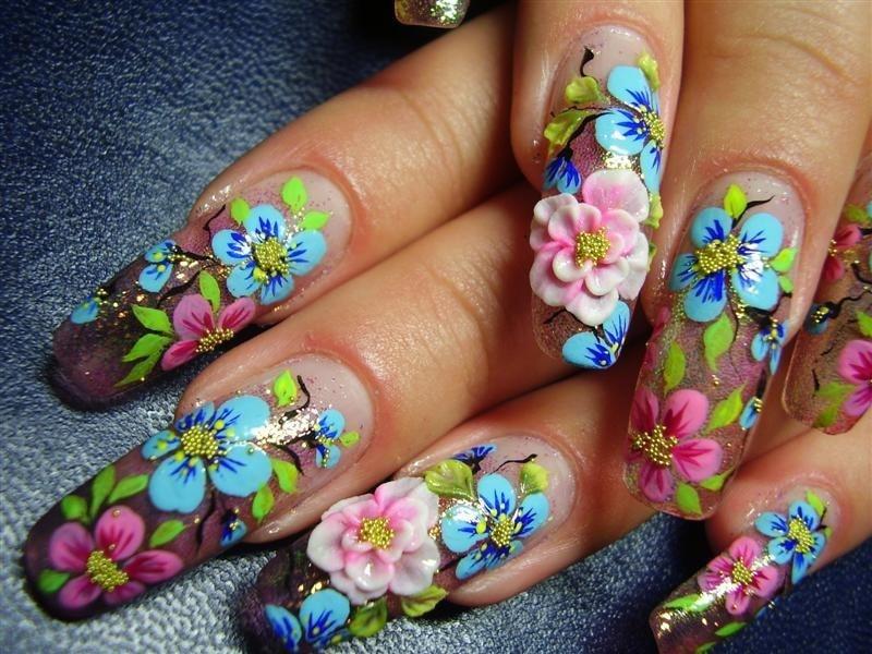 роспись акриловыми красками на ногтях