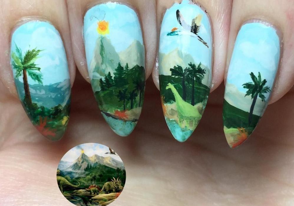 рисовать акрилом на ногтях