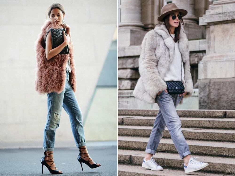 Меховая жилетка с джинсами
