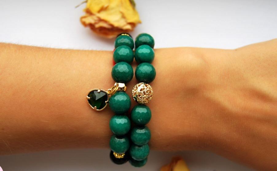 Яркий набор браслетов из зеленого агата – купить в интернет-магазине ...