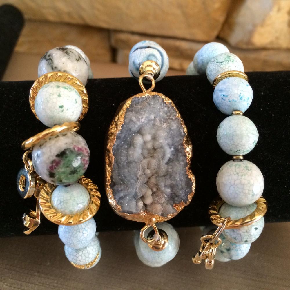 Купить браслеты набор из натуральных камней цветные из агата модные ...