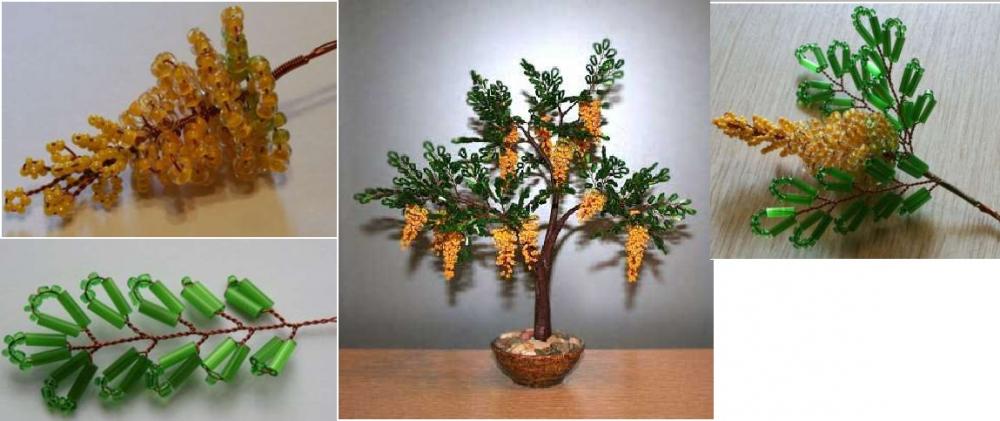 Акация Деревья из бисера, бонсай – Бисерок