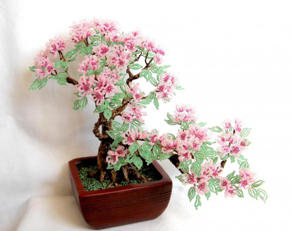 цветущий бонсай | biser.info - все о бисере и бисерном творчестве