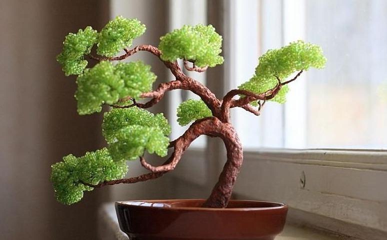 Как сделать дерево бонсай из бисера своими руками, несколько мастер ...