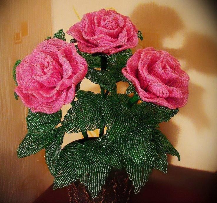букет роз из бисера