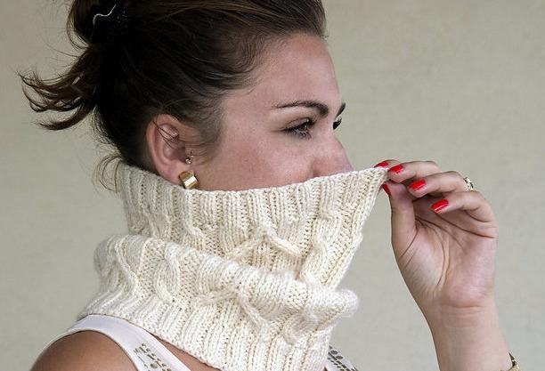 схема вязки шарфа хомута спицами