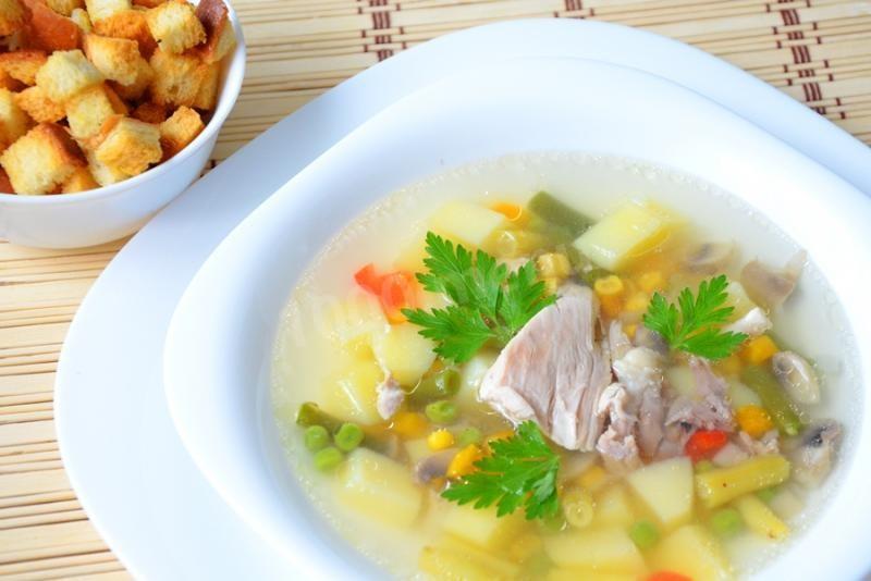 Куриный овощной суп