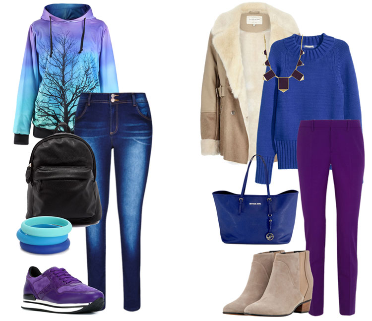 Сочетание фиолетового и синего цвета в одежде