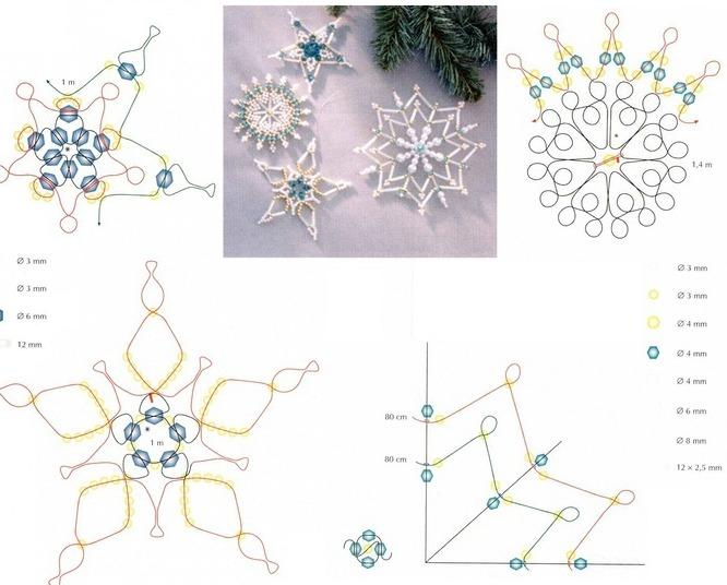 снежинки из бисера со схемами для начинающих