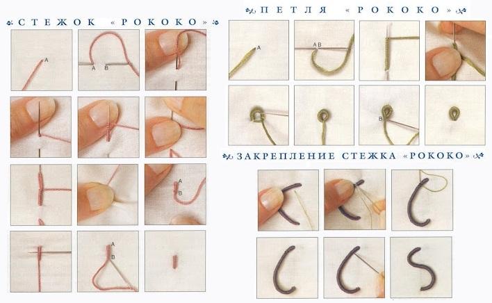 Вышивка в технике Рококо. Основные стежки