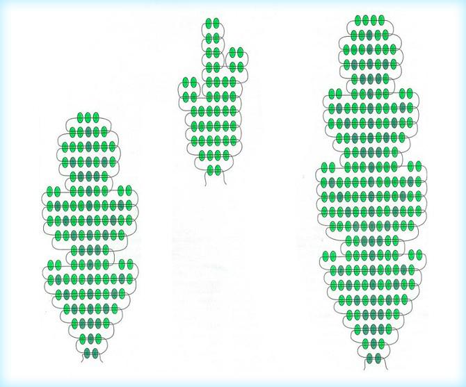 Схема листочков из бисера