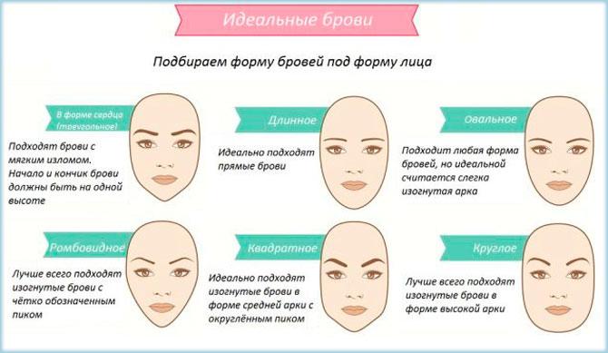 Брови по форме лица