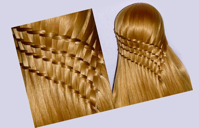 Прическа с ажурным плетением